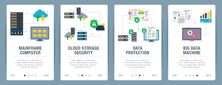 Vector set of vertical web banners with mainframe computer, cloud storage security,  data protection, big data machine. Vector banner template for website and mobile app development with icon set.