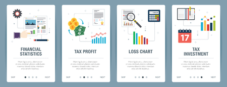 Vector set of vertical web banners with financial statistics, tax profit, loss chart and tax investment. Vector banner template for website and mobile app development with icon set.