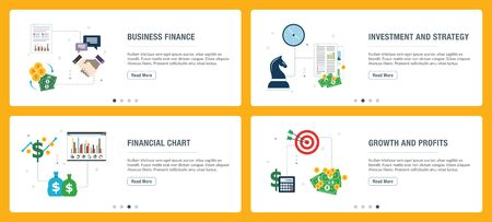 Business finance, investment and strategy, financial chart, growth and profits. Internet website banner concept with icon set. Flat design vector illustration. Vector Illustratie