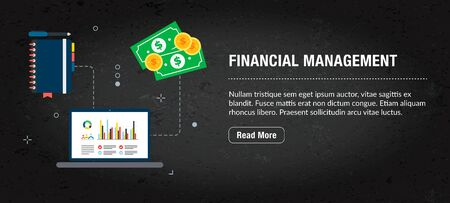 Financial management concept banner internet with icons in vector. Web banner template for website, banner internet for mobile design and social media app.Business and communication layout with icons.