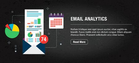 Email analytics, banner internet with icons in vector. Web banner template for website, banner internet for mobile design and social media app.Business and communication layout with icons. Vecteurs