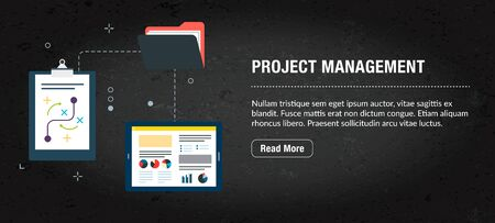Project management, banner internet with icons in vector  Web