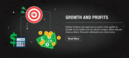 Growth and profits concept banner internet with icons in vector. Web banner template for website, banner internet for mobile design and social media app.Business and communication layout with icons.
