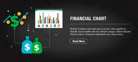 Financial chart concept of banner internet with icons in vector. Web banner template for website, banner internet for mobile design and social media app.Business and communication layout with icons. Illustration