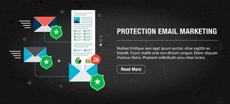 Protection email marketing, banner internet with icons in vector. Web banner template for website, banner internet for mobile design and social media app.Business and communication layout with icons. Иллюстрация