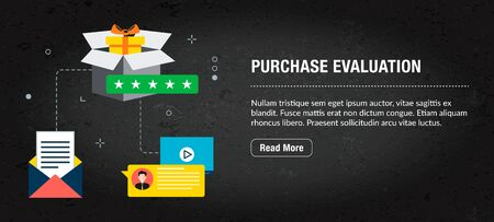 Purchase evaluation concept. Internet banner with icons in vector. Web banner for business, finance, strategy, investment, technology and planning. Illusztráció