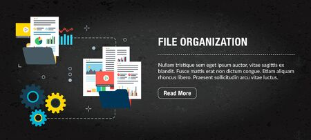 File organization concept. Internet banner with icons in vector. Web banner for business, finance, strategy, investment, technology and planning.