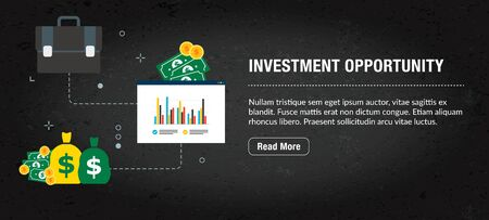 Investment opportunity concept. Internet banner with icons in vector. Web banner for business, finance, strategy, investment, technology and planning.