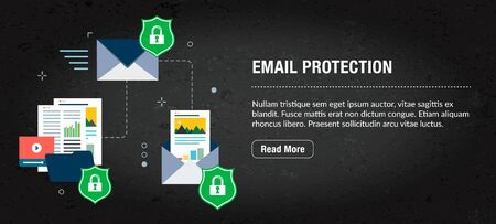 Email protection, banner internet with icons in vector. Web banner template for website, banner internet for mobile design and social media app.Business and communication layout with icons. Çizim