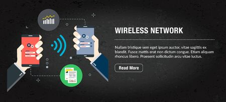 Wireless network concept. Internet banner with icons in vector. Web banner for business, finance, strategy, investment, technology and planning.
