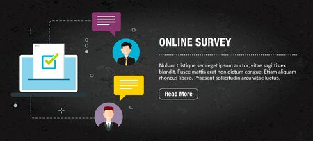 Online survey concept. Internet banner with icons in vector. Web banner for business, finance, strategy, investment, technology and planning.
