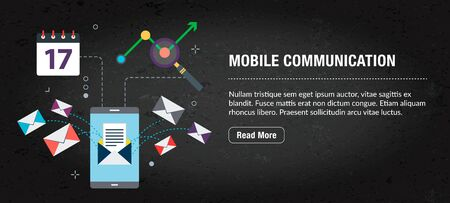 Mobile communication, banner internet with icons in vector. Web banner template for website, banner internet for mobile design and social media app.Business and communication layout with icons.