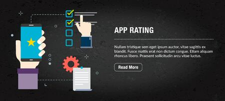 App rating concept. Internet banner with icons in vector. Web banner for business, finance, strategy, investment, technology and planning.