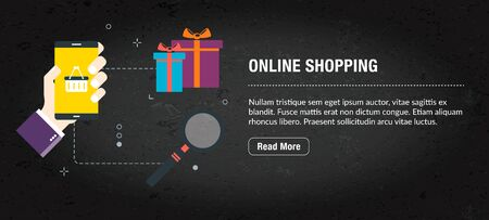 Online shopping concept. Internet banner with icons in vector. Web banner for business, finance, strategy, investment, technology and planning.