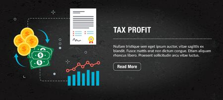 Web banner for digital marketing or online advertising in web page, internet ad, social media or mobile app. Web banner with icons of business, finance, strategy, technology and planning. Illustration