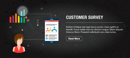 Customer survey concept. Internet banner with icons in vector. Web banner for business, finance, strategy, investment, technology and planning.