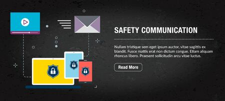 Safety communication, banner internet with icons in vector. Web banner template for website, banner internet for mobile design and social media app.Business and communication layout with icons. Иллюстрация