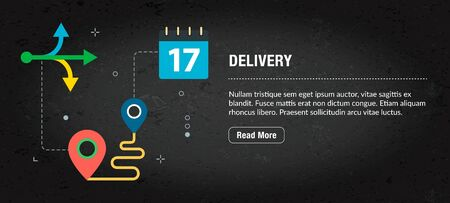 Delivery concept. Internet banner with icons in vector. Web banner for business, finance, strategy, investment, technology and planning.