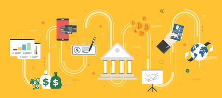 Banking and finance, economy, investment and payment. Online payment, credit card, check, bitcoin or cryptocurrency. Internet banner concept in flat design vector illustration in yellow background.