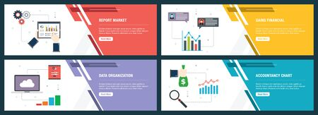 Web banners concept in vector with report market, gains financial, data organization and accountancy chart. Internet website banner concept with icon set. Flat design vector illustration. Çizim
