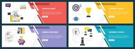 Web banners concept in vector with financial market, teamwork success, business investment and teamwork strategy. Internet website banner concept with icon set. Flat design vector illustration.