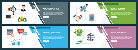 Analysis investment, success business, financial investment, global investment.  Internet website banner concept with icon set. Flat design vector illustration.  イラスト・ベクター素材