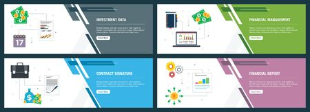 Web banners concept in vector with investment data, financial management, contract signature and financial report. Internet website banner concept with icon set. Flat design vector illustration.