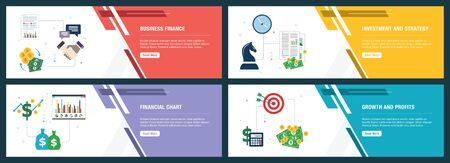 Business finance, investment and strategy, financial chart, growth and profits. Internet website banner concept with icon set. Flat design vector illustration.