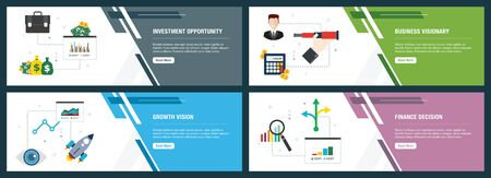 Vector set of vertical web banners with investment opportunity, business visionary, growth vision  and finance decision. Vector banner template for website and mobile app development with icon set. Иллюстрация