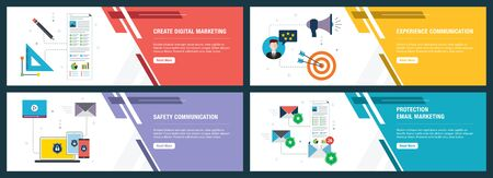 Vector set of vertical web banners with digital marketing, experience and safety communication, protection email marketing.Vector banner template for website and mobile app development with icon set.