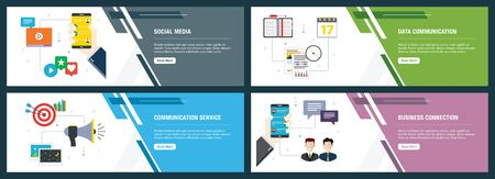 Vector set of vertical web banners with social media, data communication, communication service, business connection. Vector banner template for website and mobile app development with icon set.
