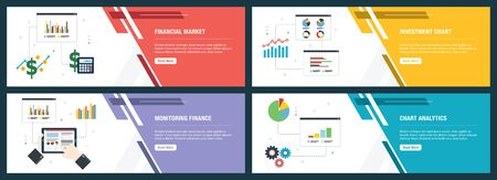 Web banners concept in vector with financial market, investment chart, monitoring finance and chart analytics. Internet website banner concept with icon set. Flat design vector illustration. Çizim