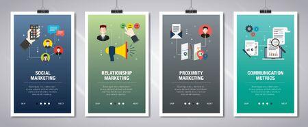 Concept de bannières Web en vecteur avec des mesures de marketing social, de marketing relationnel, de marketing de proximité et de communication. Concept de bannière de site Internet avec jeu d'icônes. Illustration vectorielle design plat. Vecteurs