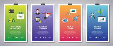 Vector set of vertical web banners with investment opportunity, business visionary, growth vision  and finance decision. Vector banner template for website and mobile app development with icon set. Banque d'images - 132779410