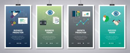 Vector set of vertical web banners with business prediction, business vision, growth prediction and success vision. Vector banner template for website and mobile app development with icon set. Banque d'images - 132781014