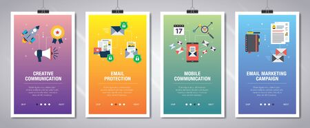 Vector set of vertical web banners with communication, email protection, mobile communication and email marketing.Vector banner template for website and mobile app development with icon set.
