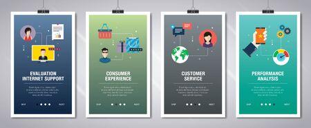 Web-Banner-Konzept im Vektor mit Bewertungsinternetunterstützung, Verbrauchererfahrung, Kundenservice und Leistungsanalyse. Internet-Website-Banner-Konzept mit Icon-Set. Flaches Design-Vektor-Illustration.