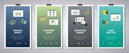 Concepto de banners web en vector con mercado financiero, gráfico de inversión, monitoreo de finanzas y análisis de gráficos. Concepto de banner de sitio web de Internet con conjunto de iconos. Ilustración de vector de diseño plano.