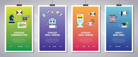Vector set of vertical web banners with communication, strategy email sending, newsletter and safety send email.Vector banner template for website and mobile app development with icon set. Illustration