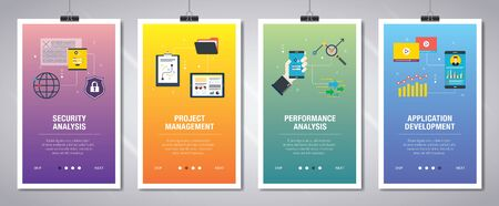 Web banners concept in vector with security analysis, project management, performance analysis and application development. Internet website banner concept with icon set. Flat design vector illustration.