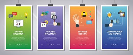 Banner set with icons for internet on websites or app templates with growth investment, analysis investment, business meeting, communication and finance. Modern flat style design. Illusztráció