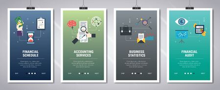 Vector set of vertical web banners with financial schedule, accounting services, business statistics, financial audit. Vector banner template for website and mobile app development with icon set.