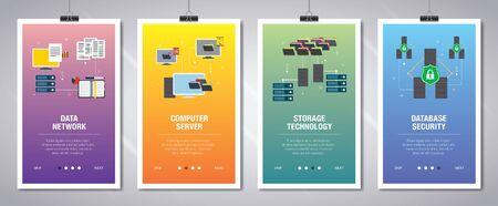 Ensemble vectoriel de bannières Web verticales avec réseau de données, serveur informatique, technologie de stockage et sécurité de la base de données. Modèle de bannière vectorielle pour le développement de sites Web et d'applications mobiles avec jeu d'icônes.