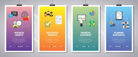 Web banners concept in vector with business growth, successful business, financial statement and planning successful.  Internet website banner concept with icon set. Flat design vector illustration. Illusztráció