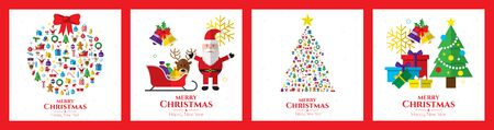 Santa claus, christmas tree, bell, stocking, christmas tree, reindeer, present, snowman and christmas elements. Merry christmas. Ilustrace