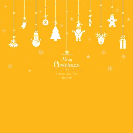 Christmas greetings ornament elements hanging in yellow background. Santa claus, christmas tree, bell, stocking, christmas tree, reindeer, present, snowman and christmas elements. Merry christmas.