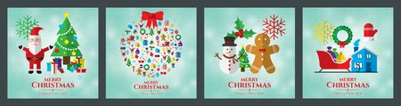 Santa claus, christmas tree, bell, stocking, christmas tree, reindeer, present, snowman and christmas elements. Merry christmas. Christmas decoration, christmas ornament and christmas card. Ilustração