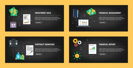 Set of internet banner design templates for web sites, internet marketing, and business. Investment data, financial management, contract signature, and financial report. Flat design vector.