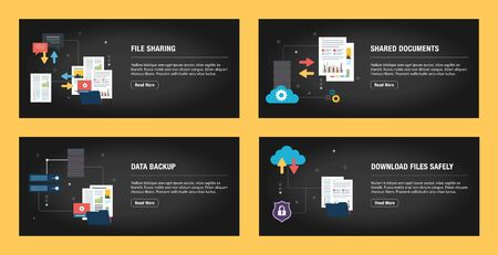 Set of internet banner design templates for web sites, internet marketing, and business. File sharing, shared documents, data backup and download files safely. Flat design vector.