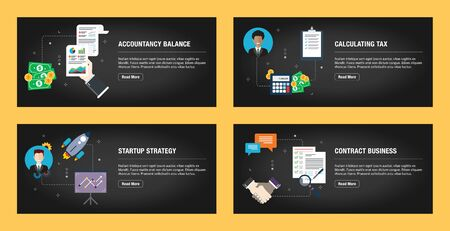 Set of internet banner design templates for web sites, internet marketing, and business. Accountancy balance, calculating tax, startup strategy and contract business. Flat design vector. Иллюстрация